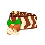 Piece of zebra cake with nuts. Vector sliced portion  sponge striped , decorated  chocolate cream and crushed walnut on white back. Piece of zebra cake with nuts Royalty Free Stock Photos