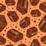 Pieces of aerated chocolate on a beidge background. Seamless pattern, porous Royalty Free Stock Photography