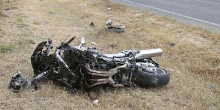 Details on bike crash incident in mallorca stock photo