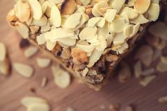 Pieces of apple pie decorated on wooden table Royalty Free Stock Image