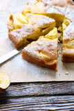 Pieces of apple pie with icing sugar Royalty Free Stock Photo