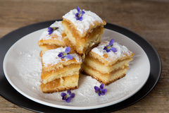 Pieces of apple pie with violets on top. On a black and on a white plate covered with sugar powder Royalty Free Stock Image