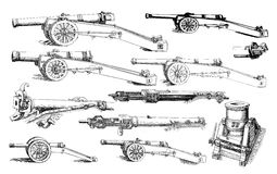 Pieces of artillery from the XVI century Royalty Free Stock Images