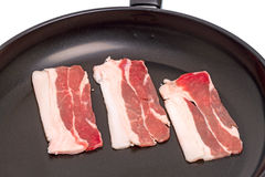 Pieces of bacon in a frying pan Royalty Free Stock Photography
