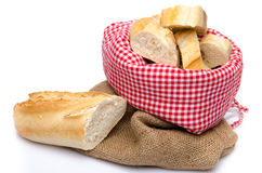 Pieces of baguette in a bag Stock Image