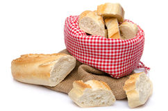 Pieces of baguette in a bag Royalty Free Stock Image