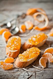 Pieces of baguette with orange marmalade Stock Photos