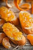 Pieces of baguette with orange marmalade Royalty Free Stock Image
