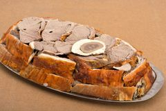 Pieces baked lamb meat Stock Images