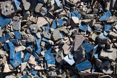 Pieces of beaten tiles and concrete blocks. Stock Photography