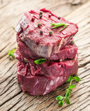 Pieces of beef tenderloin. Royalty Free Stock Images