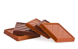 Pieces bitter and milk chocolate Stock Images