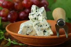 Pieces of blue cheese with red grapes Stock Images