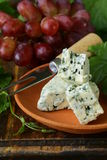 Pieces of blue cheese with red grapes Stock Photos