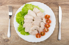 Pieces of boiled chicken meat, lettuce and tomatoes in plate Stock Photography