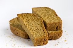 Pieces of bread. Russian black bread. Crumbs are left intentionally, to remove them not difficultly Royalty Free Stock Photos