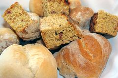 Pieces of bread. Various pieces of several types of bread Stock Images
