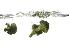 Broccoli splashing. Pieces of Broccoli falling into water Royalty Free Stock Images