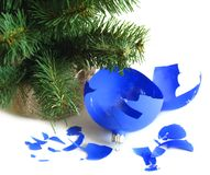 Pieces of broken blue ball Stock Images