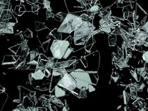Pieces of broken or cracked glass on black. 3d illustration; 3d rendering Royalty Free Stock Photos