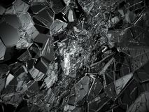 Pieces of Broken or cracked glass on black. 3d rendering 3d illustration Stock Photos