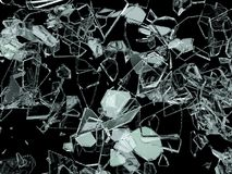 Pieces of broken or cracked glass on black. 3d illustration; 3d rendering Stock Image
