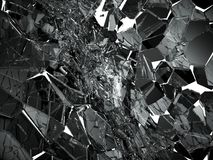 Pieces of Broken or cracked glass on white. 3d rendering 3d illustration Stock Photography