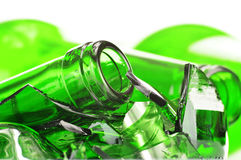 Pieces of broken glass over white background. Recycling Royalty Free Stock Photo