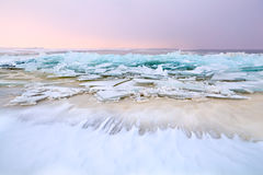 Pieces of broken ice on north sea Royalty Free Stock Photo