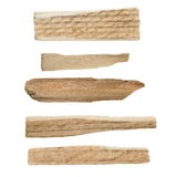 Pieces of broken planks of beech isolated on white background Stock Photo