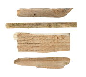 Pieces of broken planks of beech isolated on white background Stock Images