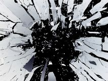 Pieces of Broken Shattered black glass isolated on black Stock Images