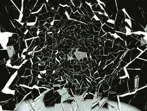 Pieces of Broken or Shattered black glass isolated Stock Photography