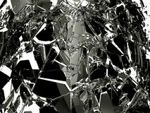 Pieces of Broken Shattered black glass isolated on white Royalty Free Stock Images