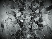 Pieces of Broken or Shattered glass on black. 3d rendering 3d illustration Royalty Free Stock Image