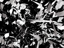 Pieces of Broken or Shattered glass on black. 3d rendering 3d illustration Stock Photos