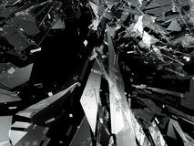 Pieces of Broken or Shattered glass on black. 3d rendering 3d illustration Royalty Free Stock Photos