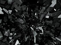 Pieces of Broken or Shattered glass on black. 3d rendering 3d illustration Stock Image