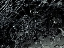 Pieces of Broken or Shattered glass on black. 3d illustration, 3d rendering Stock Image