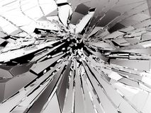 Pieces of Broken or Shattered glass on black. 3d rendering 3d illustration Stock Photography