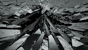 Pieces of Broken or Shattered glass on black. 3d rendering 3d illustration Royalty Free Stock Images