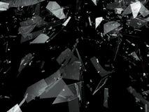 Pieces of Broken or Shattered glass on black. 3d rendering 3d illustration Stock Images