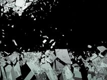 Pieces of Broken or Shattered glass  on black Stock Photos