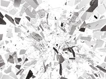 Pieces of Broken or Shattered glass on white. 3d rendering 3d illustration Stock Photo