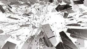 Pieces of Broken or Shattered glass on white. 3d rendering 3d illustration Royalty Free Stock Image