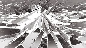 Pieces of Broken or Shattered glass on white. 3d rendering 3d illustration Stock Images