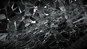 Pieces of Broken or Shattered glass on white. 3d rendering 3d illustration Royalty Free Stock Images