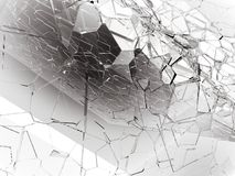 Pieces of Broken or Shattered glass on white. 3d rendering 3d illustration Stock Photography