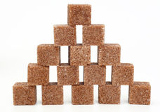 Pieces of brown sugar. Wall from pieces of brown sugar Stock Photography