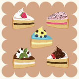 Pieces of Cakes. Several Colored Pieces of Cakes Vector Illustration